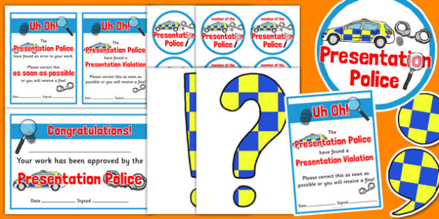 Presentation Police Pack - presentation, police, pack, role play, literacy