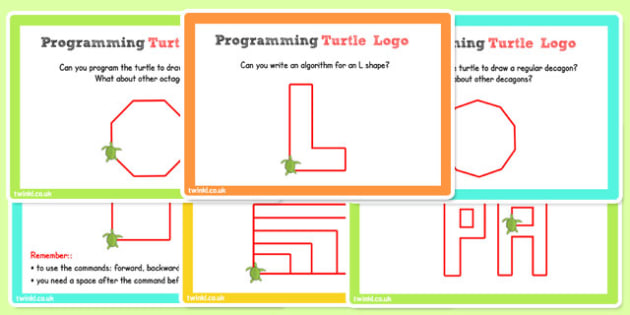 ICT Challenge Cards Programming Turtle Logo - ICT, Turtle, Logo