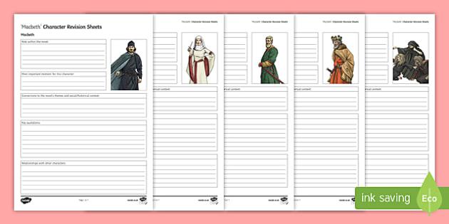Macbeth Character Revision Activity Sheets