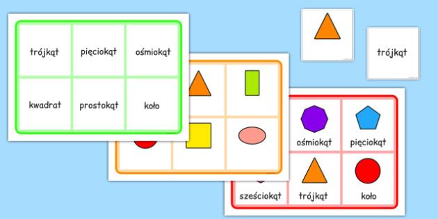 Bingo Figury geometryczne po polsku - gra, zabawa, szkoła