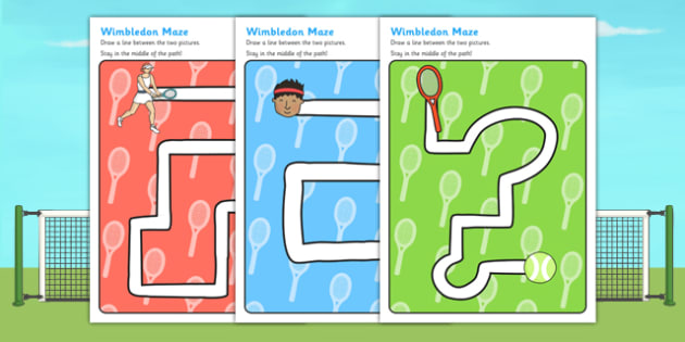 Wimbledon Themed Pencil Control Path Worksheet - motor skills