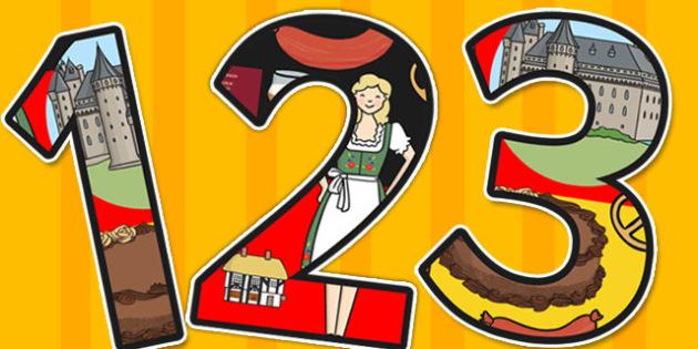 German Themed A4 Display Numbers - German, Display, Numbers