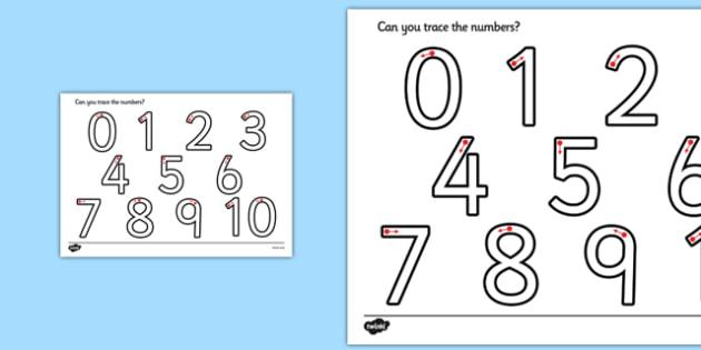 Taflen waith-ffurfio rhifau - Number formation, tracing numbers, tracing sheet, 0-9 tracing, 0-9, number writing practice, foundation stage numeracy, writing, learning to write