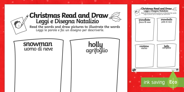 Christmas Read and Draw Worksheet Italian translation Italian Translation - Christmas Read and Draw Worksheet - worksheets, drawing, reading, chritmas, chriatmas, christms, chr - Christmas Read and Draw Worksheet - worksheets, drawing, reading, chrit