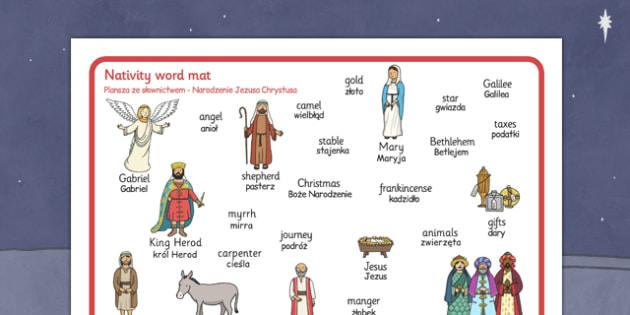 Nativity Word Mat Polish Translation - polish, nativity, word mat, word, mat, christmas