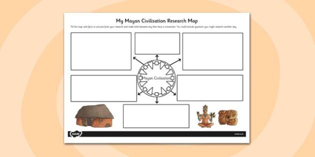 Mayan Civilisation Themed Research map - mayan, research, map