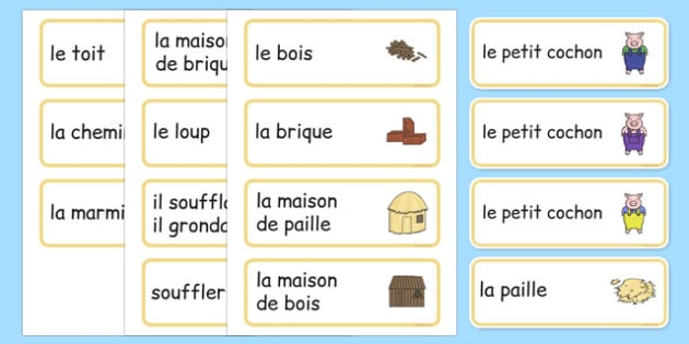 The Three Little Pigs Word Cards French - french, Three little pigs, traditional tales, word cards, flashcards, tale, fairy tale, pigs, wolf, straw house, wood house, brick house, huff and puff, chinny chin chin