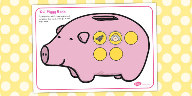Qu Phonics Piggy Bank Activity - qu, phonics, piggy bank, activity
