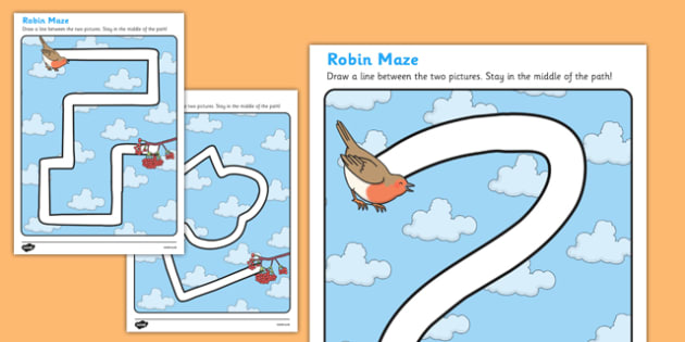Robin Themed Pencil Control Path Worksheet - robin, themed, pencil control path, pencil, control, path