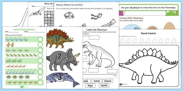Top Ten Dinosaurs Activity Pack - dino, dinosaurs, stegosaurus, apotosaurus, triceratops, velociraptor, iguanodon,