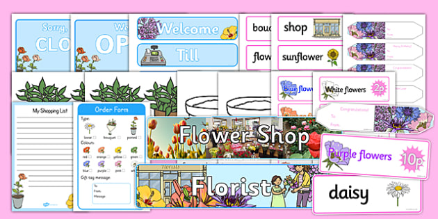 Florist Role Play Pack - Florist Role Play, florist, flower shop, Role Play Pack - role play, Display signs, display, labels, packflowers, bouquet, flower decorations, till, money, gifts, role play, display, poster