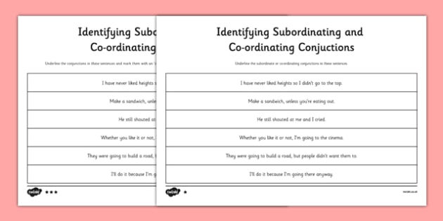 Identifying Subordinating Coordinating Conjunctions