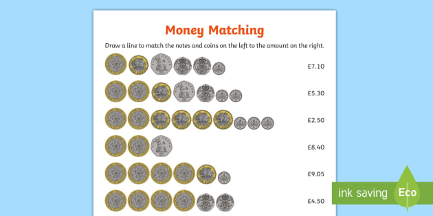 uk money matching worksheet activity sheet gbp currency. Black Bedroom Furniture Sets. Home Design Ideas
