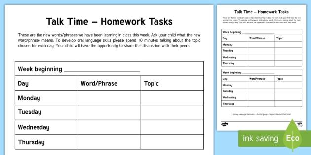 talk time homework tasks worksheet worksheet new language rh twinkl co uk