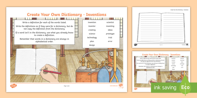 Inventions Key Vocabulary Create Your Own Dictionary - Vocabulary Development, reading for information, definitions, creating texts, alphabetical order