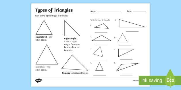 Types of Triangle Worksheet - triangles, shapes, types of