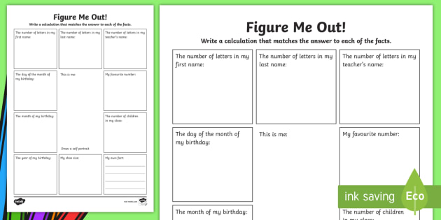 all about me figure me out maths worksheet ks2 numeracy calculations. Black Bedroom Furniture Sets. Home Design Ideas