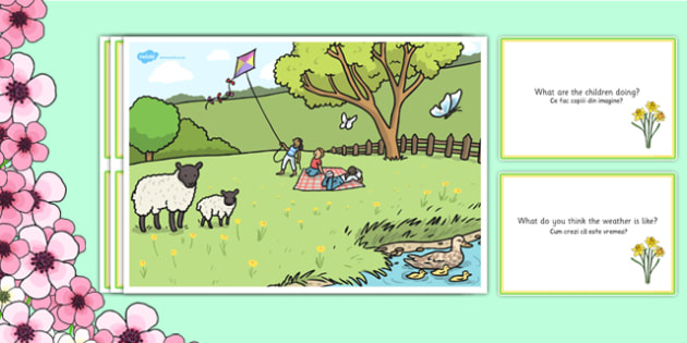 Spring Park Scene and Question Cards Romanian Translation - romanian, spring, spring park, questions, comprehension pack