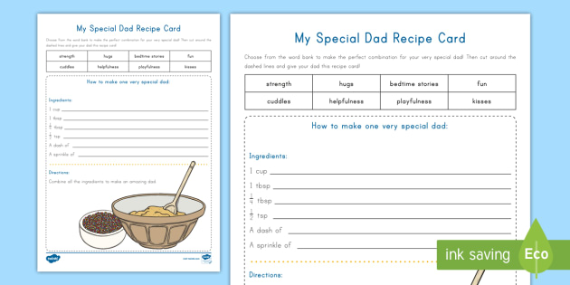 New My Special Dad Recipe Card Activity Adjectives