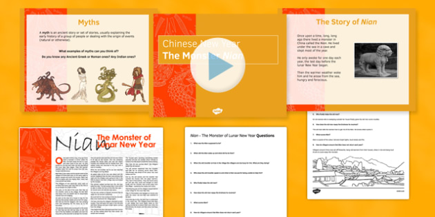 The Myth of the Monster Nian Lesson One Pack - Festivals, Chinese New Year, myth, folktale, lion dance, dragons, writing, comprehension, KS3, English
