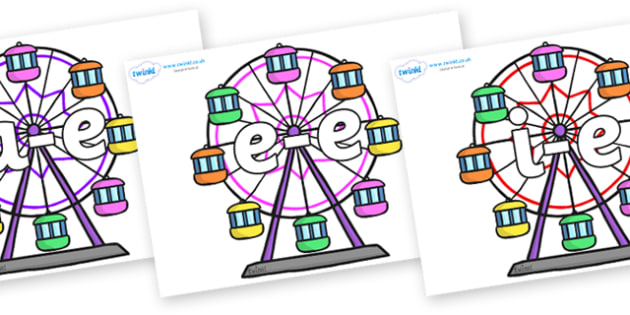 Modifying E Letters on Ferris Wheels - Modifying E, letters, modify, Phase 5, Phase five, alternative spellings for phonemes, DfES letters and Sounds