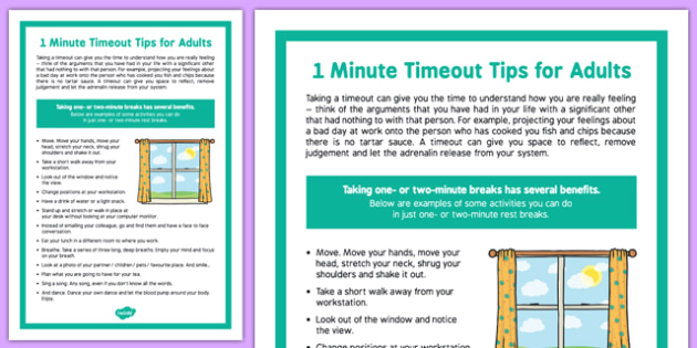 1 Minute Time Out Tips for Care Staff - 1 minute, time out, tips, care staff