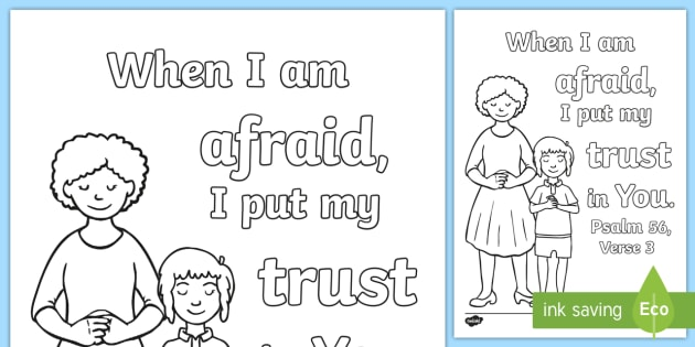 pre k psalm 563 coloring page bible memory verse christian - Psalm 56 3 Coloring Page