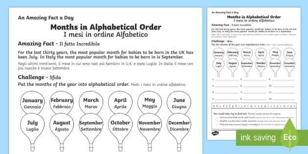 months in alphabetical order worksheet worksheet italian english rh twinkl co uk