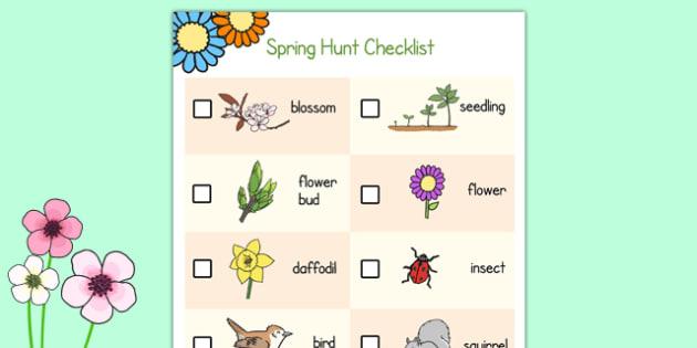 Spring Hunt Checklist - spring, seasons, easter, hunt, easter hunt, objects hunt, can you see?, spring sensory walk checklist, walk checklist, spring walk checklist, spring hunt, spring search