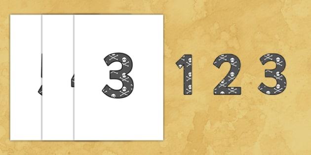 0-9 Display Numbers (Pirates) - Display numbers, 0-9, numbers, display numerals, pirates, pirate, jolly roger, display lettering, display numbers, display, cut out lettering, lettering for display, display numbers