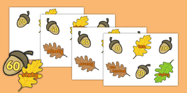Acorn Number Bonds Matching Digits to Words - acorn, number bonds, matching, digits, words