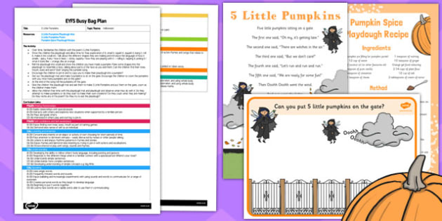5 Little Pumpkins EYFS Busy Bag Plan and Resource Pack - 5 little pumpkins, eyfs, busy, bag