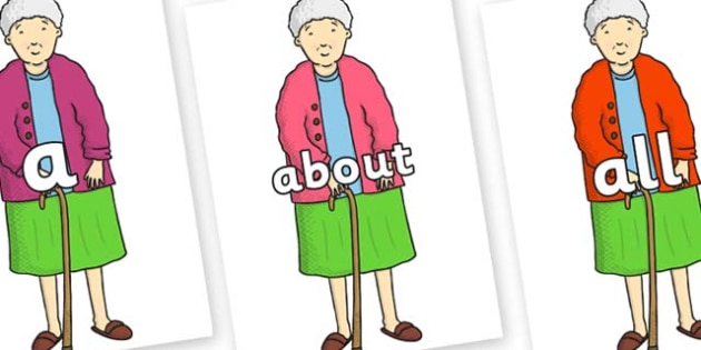 100 High Frequency Words on Harry's Nan to Support Teaching on Harry and the Bucketful of Dinosaurs - High frequency words, hfw, DfES Letters and Sounds, Letters and Sounds, display words