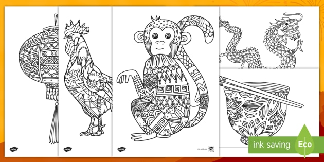 Chinese New Year Mindfulness Colouring Pages English Mandarin