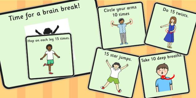 Time For a Brain Break - brain, break, time, activities, move