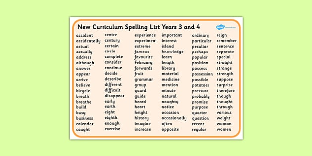 Year 3 and 4 Spelling List - New Curriculum Word Mat