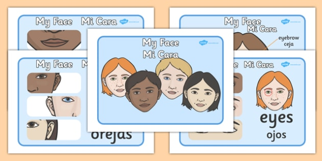 My Face Display Posters Spanish Translation - spanish, face, features, eye, mouth, lips, ourselves, all about me, emotions, feelings, face, faces