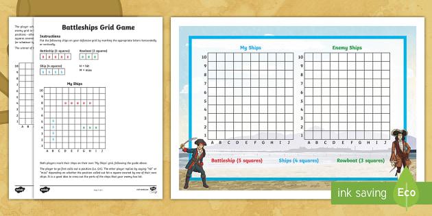 Interactive Battleship Game With Coordinates Teacher Made