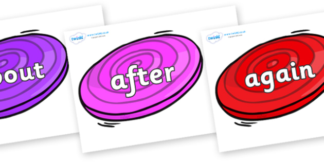 KS1 Keywords on Frisbees - KS1, CLL, Communication language and literacy, Display, Key words, high frequency words, foundation stage literacy, DfES Letters and Sounds, Letters and Sounds, spelling