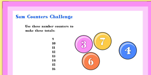 A4 KS1 Sum Counters Maths Challenge - numeracy, activity, sums
