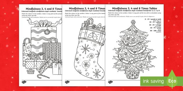 KS1 Christmas-Themed Mindfulness Times Tables Worksheet ...
