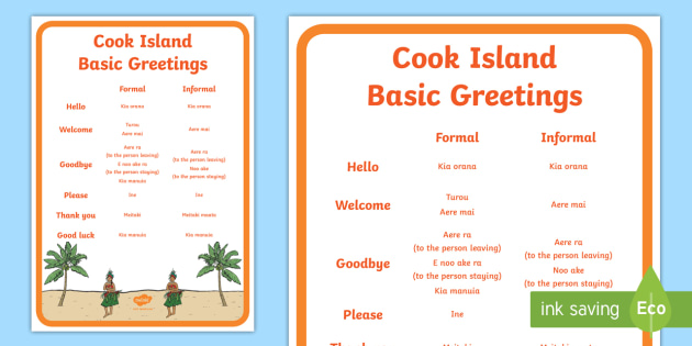 Cook islands basic greetings a4 display poster te reo cook islands basic greetings a4 display poster te reo morienglish cook islands m4hsunfo