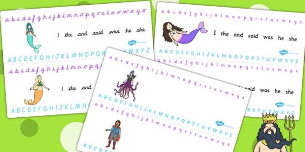 The Little Mermaid Alphabet Strips - story books, visual aid, a-z
