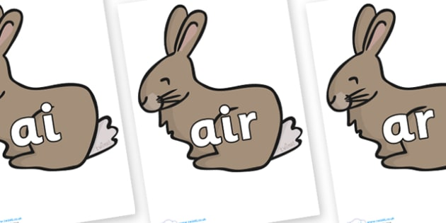 Phase 3 Phonemes on Rabbit - Phonemes, phoneme, Phase 3, Phase three, Foundation, Literacy, Letters and Sounds, DfES, display