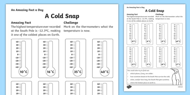 A Cold Snap Activity Sheet, worksheet