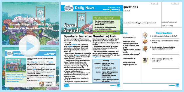 LKS2 Great Barrier Reef Sound Test Daily News Resource Pack