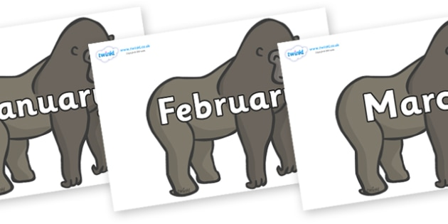 Months of the Year on Gorillas - Months of the Year, Months poster, Months display, display, poster, frieze, Months, month, January, February, March, April, May, June, July, August, September