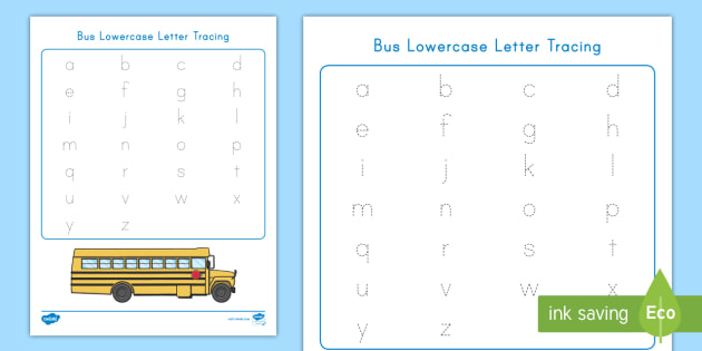 bus lowercase letter tracing worksheet activity sheet usa back to school usa beginning