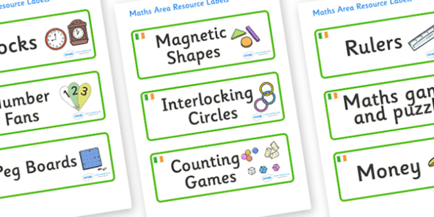 Ireland Themed Editable Maths Area Resource Labels - Themed maths resource labels, maths area resources, Label template, Resource Label, Name Labels, Editable Labels, Drawer Labels, KS1 Labels, Foundation Labels, Foundation Stage Labels, Teaching Lab