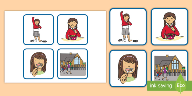 Sequencing Cards Girl Getting Ready for School - school, cards